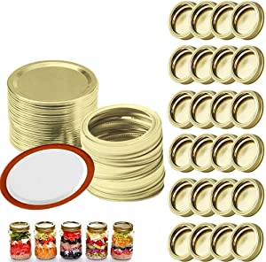 Vibkow 25 Sets Mason Jars Canning Lids and Rings Regular Mouth, Replacement Metal Mason Jar Lids and Bands Split-type Lids Leak Proof Secure Seal Jar Caps for Storage, Gold
