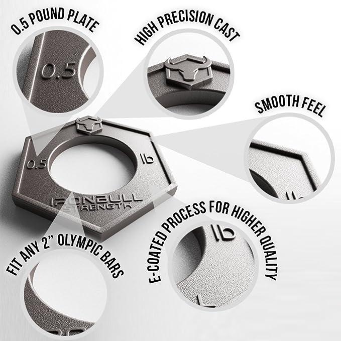 Discos Iron Bull - Kit de 8 Discos x 0.23 kg de Peso (1.81 kg en total), Encajan en las barras olímpicas- Microcarga desde 1 libra hasta 4 libras.
