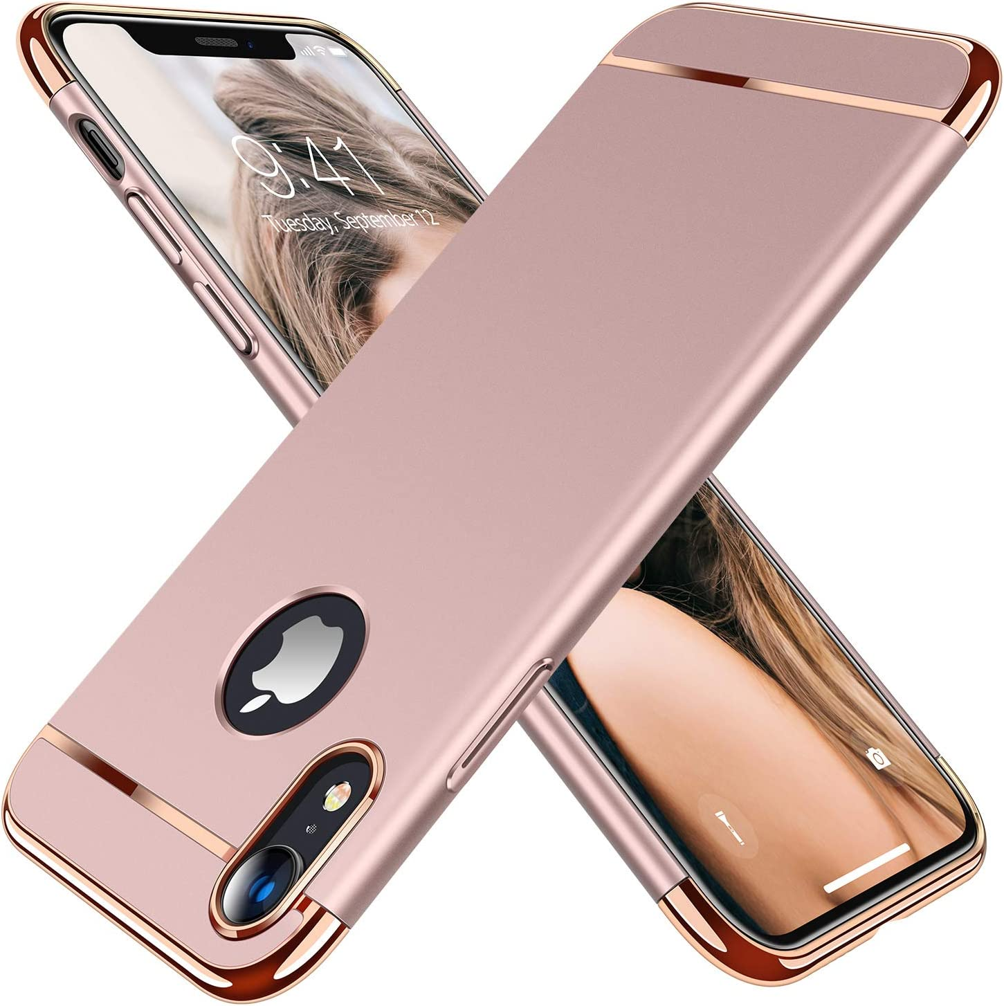 TORRAS Lock Series Designed for iPhone XR Case, 3-in-1 Luxury Hybrid Hard Plastic with Gold Trim Matte Finish Slim Thin Phone Case, Rose Gold