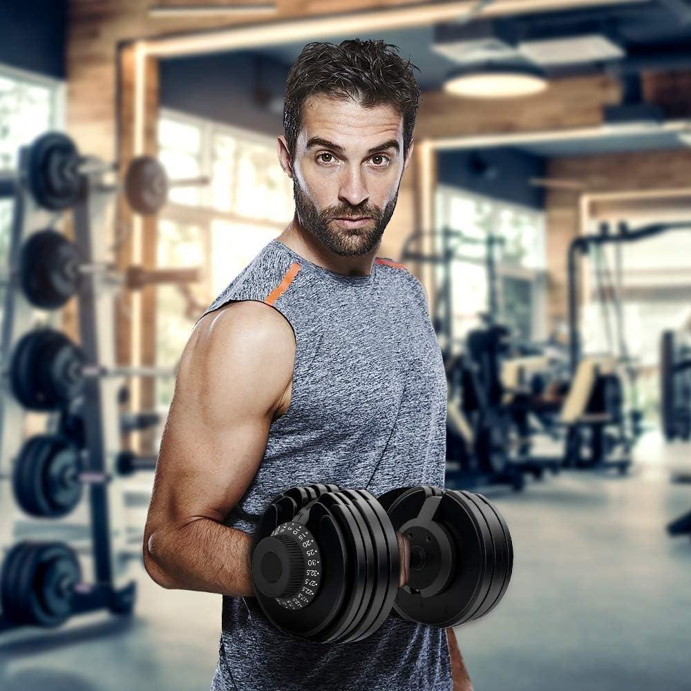 Juego de mancuernas ajustables de 5 kg a 25kg esfera seleccionable 10 diferentes pesos en casa, gimnasio y entrenamiento de fitness (par)