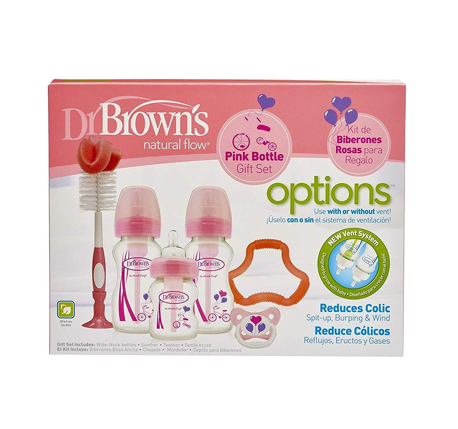 Dr. Browns, 72239306857, Natural Flow, Options, Set de Regalo, Rosa