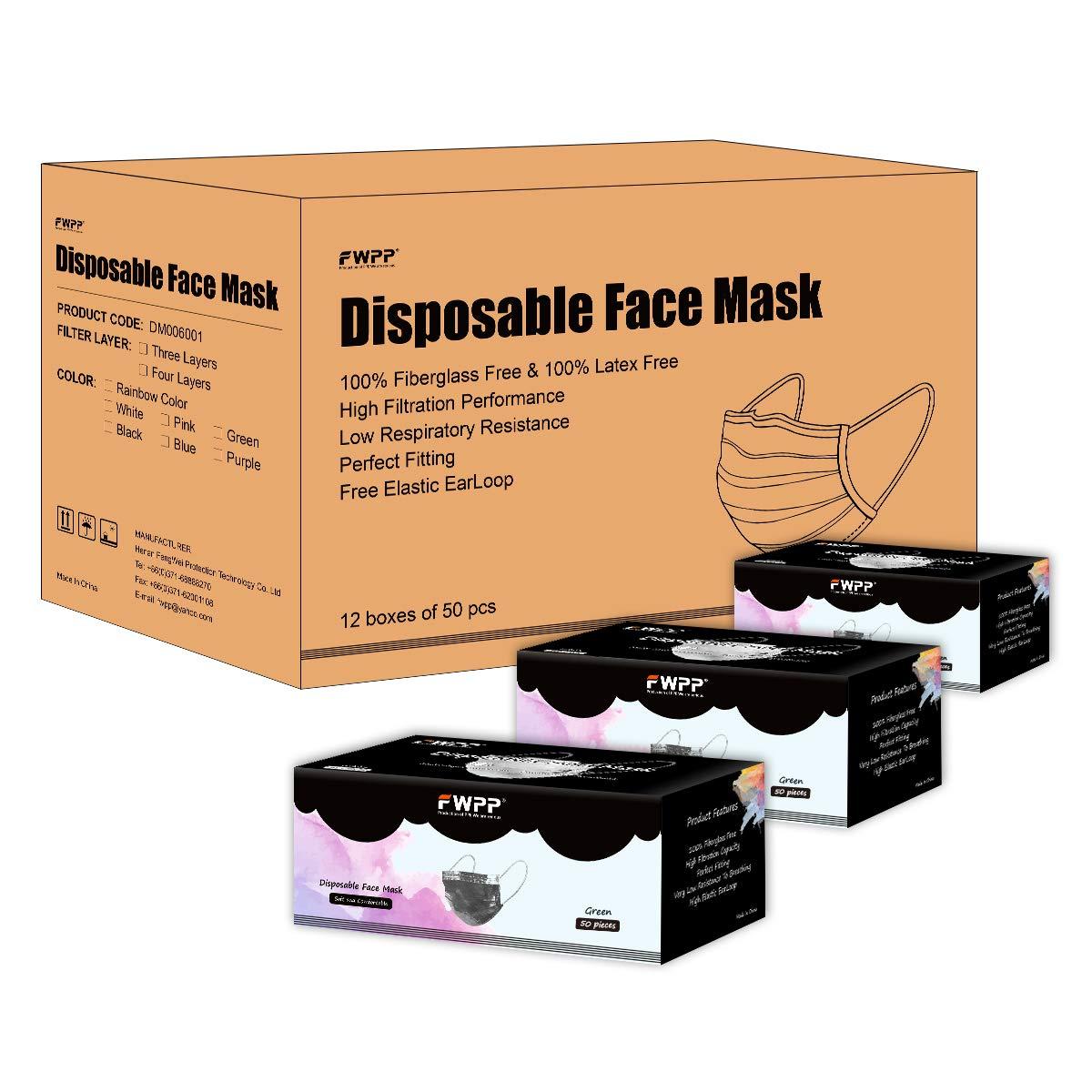 FWPP Breathable Earloop Disposable Face Masks Surgical Medical Economy Plus 600 pcs Dream Black