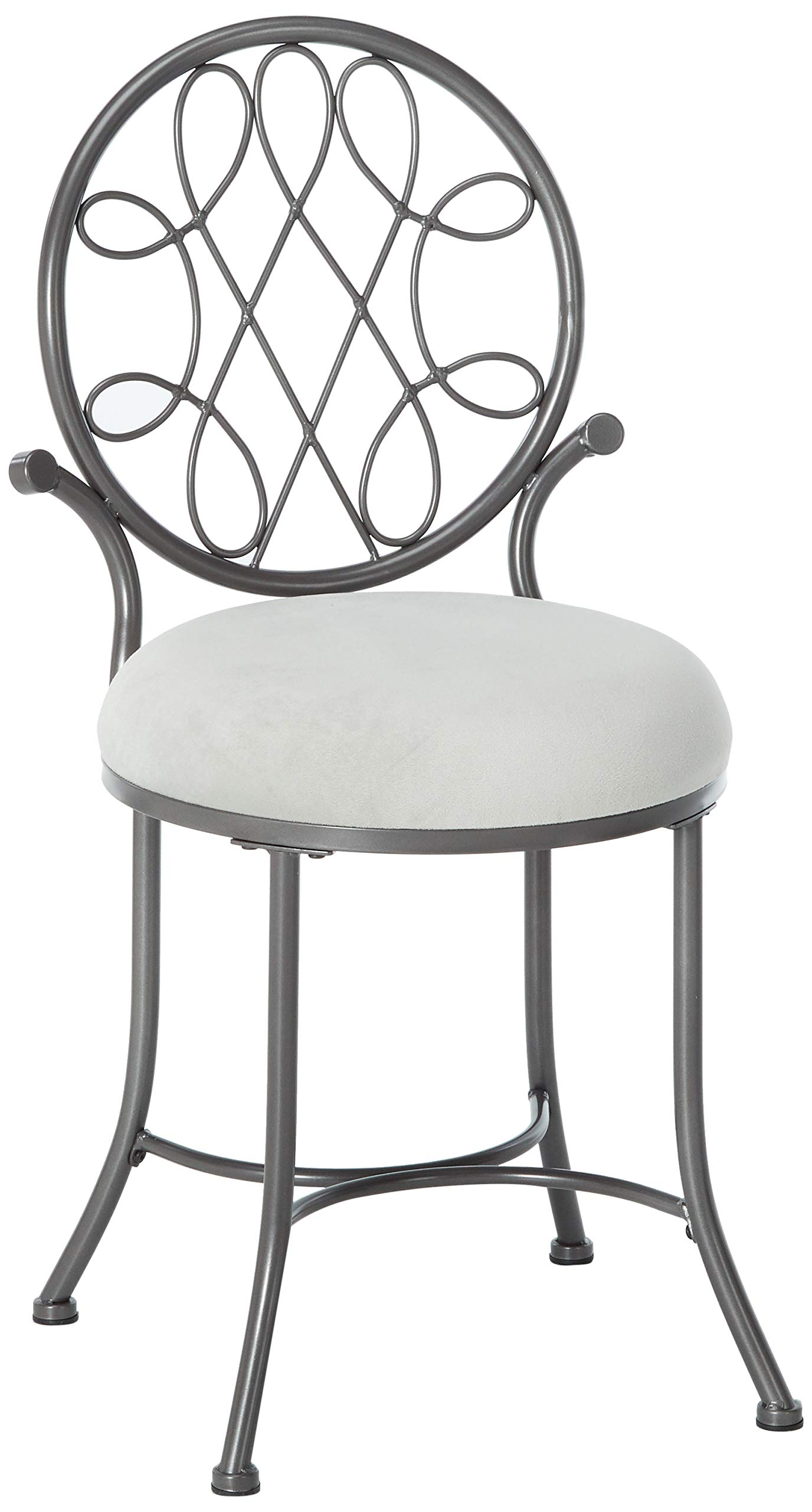 Hillsdale O'Malley Vanity Stool, Gray by Hillsdale Furniture