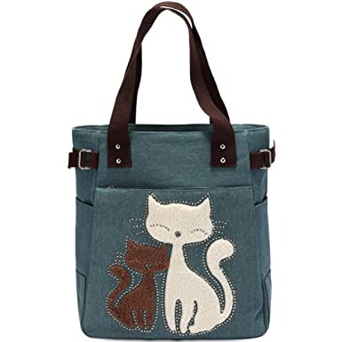 Amazon.com: KAUKKO Casual Cute Two Cats Embroidered Canvas Tote ...
