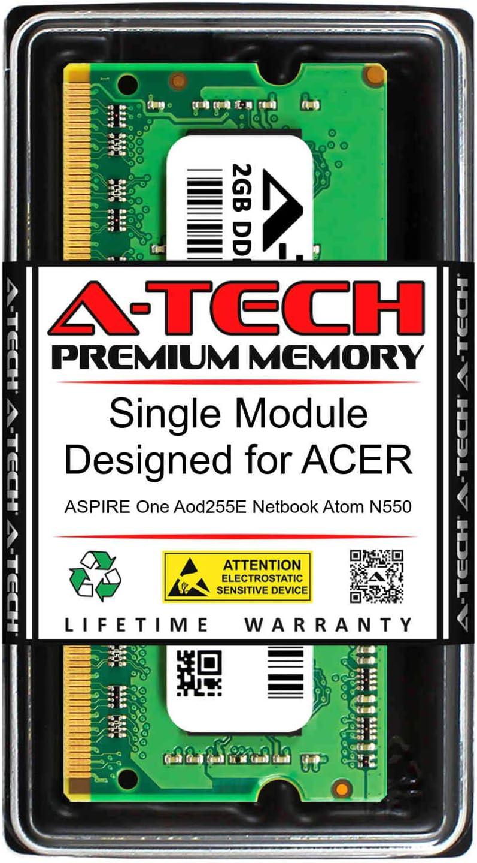 A-Tech 2GB RAM for ACER Aspire ONE AOD255E Netbook Atom N550   DDR3 1333MHz SODIMM PC3-10600 204-Pin Non-ECC Memory Upgrade Module