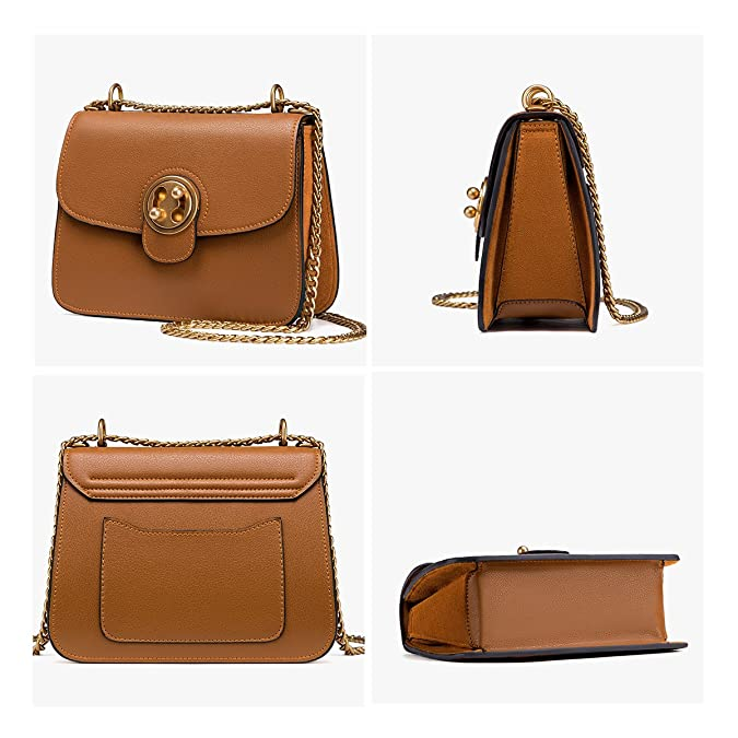 0045961fecdf LA FESTIN Ladies Retro Leather Shoulder Chain Purse Saddle Bag - with  Outside Pocket Brown  Handbags  Amazon.com
