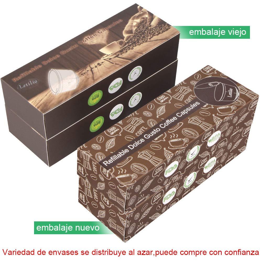 Letilio Filtros C/ápsulas de Caf/é puede rellenar reutilizar para Dolce Gusto Cafetera fuerte al menos 160 veces de usos para reemplazo,3 pcs con 1 cuchar/ón de pl/ástico y 1 cepillo de limpieza