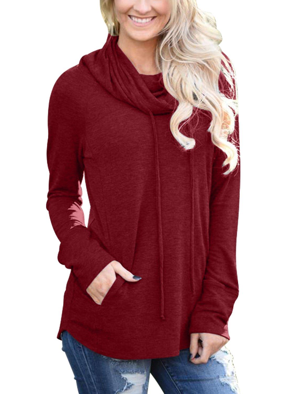 Bdcoco Women's Cowl Neck Long Sleeve Drawstring Sweatshirt Tunic Tops with Pockets Burgundy Small