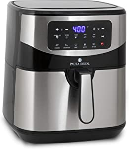 Paula Deen Stainless Steel 10 QT Digital Air Fryer (1700 Watts), LED Display, 10 Preset Cooking Functions, Adjustable Time and Temperature, Ceramic Non-Stick Coating, Auto Shut-Off, 50 Recipes (Stainless Steel)