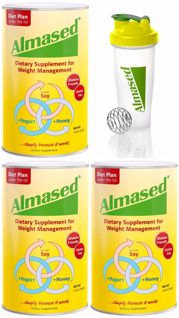 Almased Dietary Supplement for Weight Management, 17.3 ounce protein powder, 3-pack with Blender Bottle Bundle -- Diabetic Friendly, Gluten Free