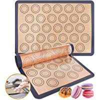 Silicone baking mat,2 Packs Reusable Nonstick Liners for Baking Pans and Cookie Sheets Reusable Nonstick Liners for…