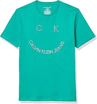 Calvin Klein Boys' Pop up Logo Crew Neck Tee Shirt