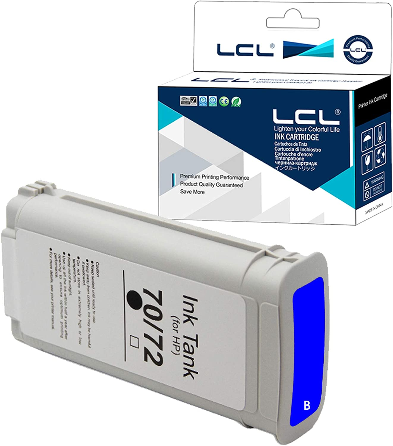 LCL Compatible Ink Cartridge Replacement for HP 70 C9458A 135ML High Yield Designjet Z3100 Z3100PS Z3200 Z3200PS (1-Pack Blue)