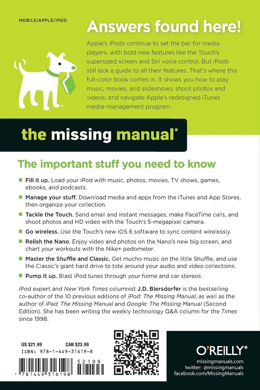 iPod: The Missing Manual (Missing Manuals): Amazon.co.uk: J.D. Biersdorfer,  David Pogue: 9781449316198: Books