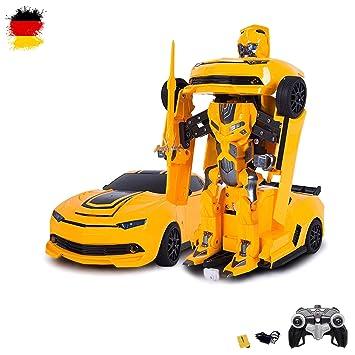 RC ferngesteuertes Roboter-Auto, Transformation per Knopfdruck, 2,4GHz, Komplett-Set RTR inkl. Fernsteuerung, Akku und Ladege