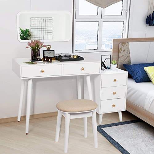 COZUHAUSE Vanity Table Set with Hanging 27 Mirror,2 Large Capacity Drawer,3 Drawers 24 Storage,Cushioning Stool,Solid Oak Wooden Legs,Golden Metal Handle Dressing Table White