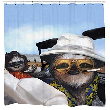 SS22 Sloth Fear And Loathing In Las Vegas Shower Curtain Slothzilla