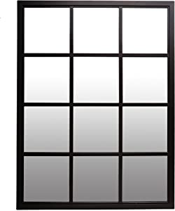 Patton Wall Decor 23x30 Classic Black Windowpane Mirror