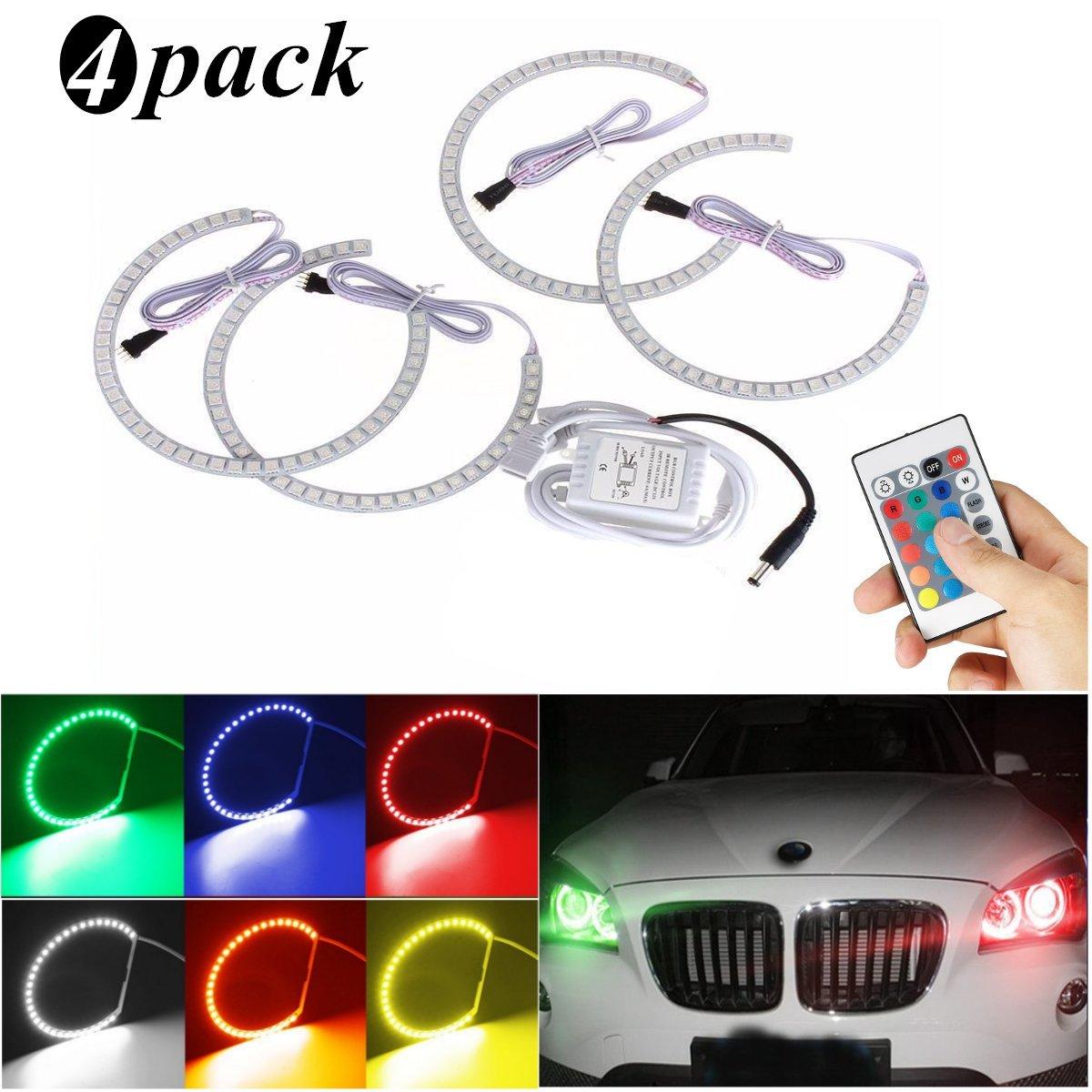 Ambother 4 x Xenon lamp LED angel eye halo ring, car light headlight 131MM angle eyes