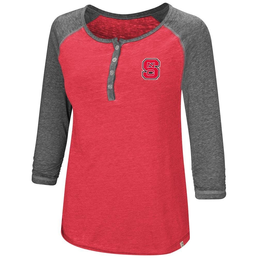 Colosseum Womens NC State Wolfpack Henley 3 /4長袖Teeシャツ B07DWJTTF7   Small