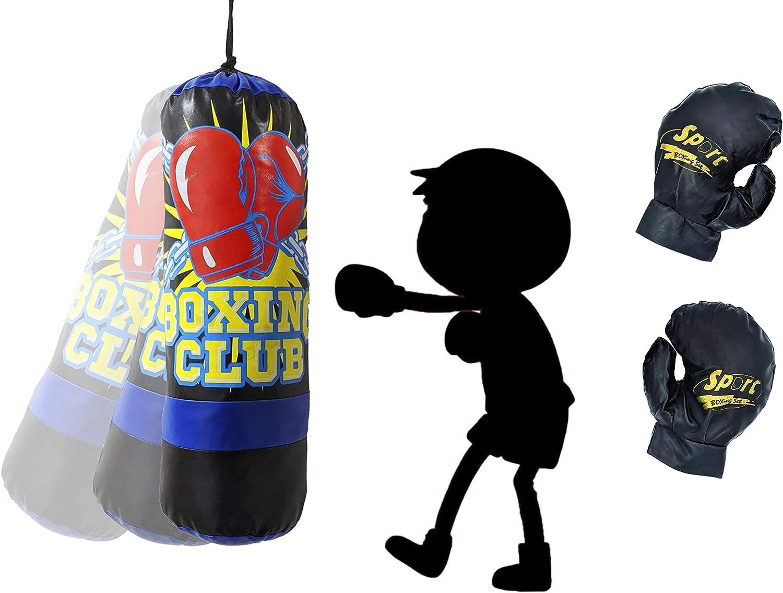 JOVAL - Saco de Boxeo Azul para Niños, Entrenamiento de MMA Muay Thai Kick Boxing y Artes Marciales con Guantes,Junior Punching Bag.