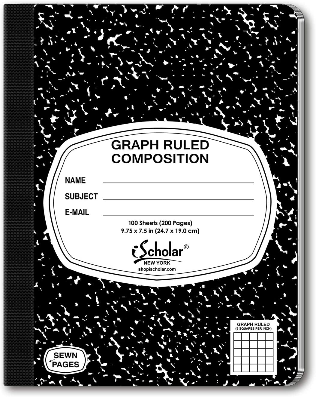 iScholar Composition Book, 100 Sheets, 5 x 5 Graph Ruled, 9.75 x 7.5-Inches, Black Marble Cover (11100)