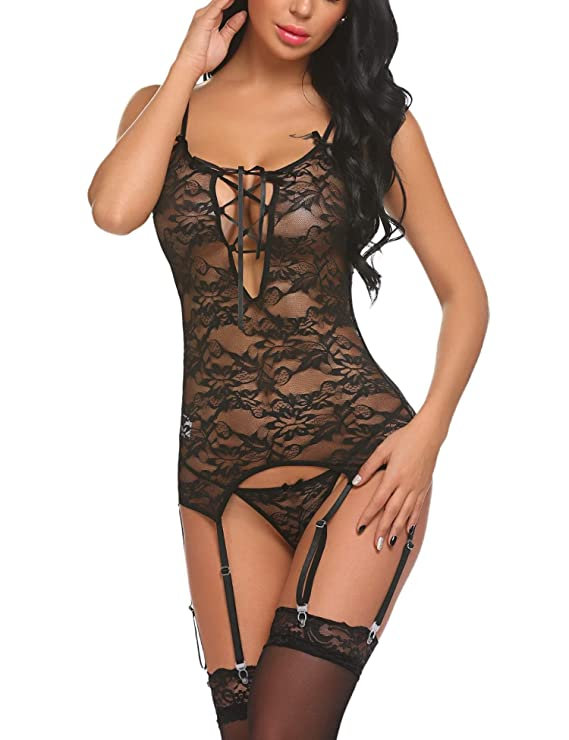 97a8810e60 Swiftt Mujer Lencería Ligueros Pijama Encaje Ropa Interior Dormir Sexy  Erotica
