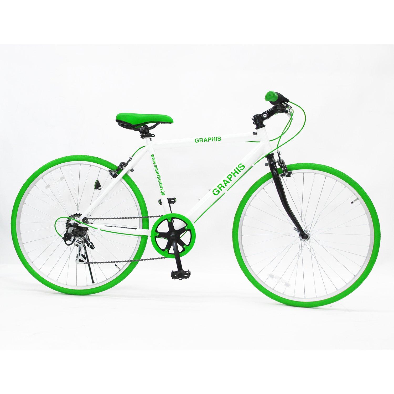 GRAPHIS(グラフィス) GR-001 クロスバイク 26インチ 6段変速 可動式ステム クイックレリーズ 11色 B00UQZSEBQ ホワイト/グリーン ホワイト/グリーン