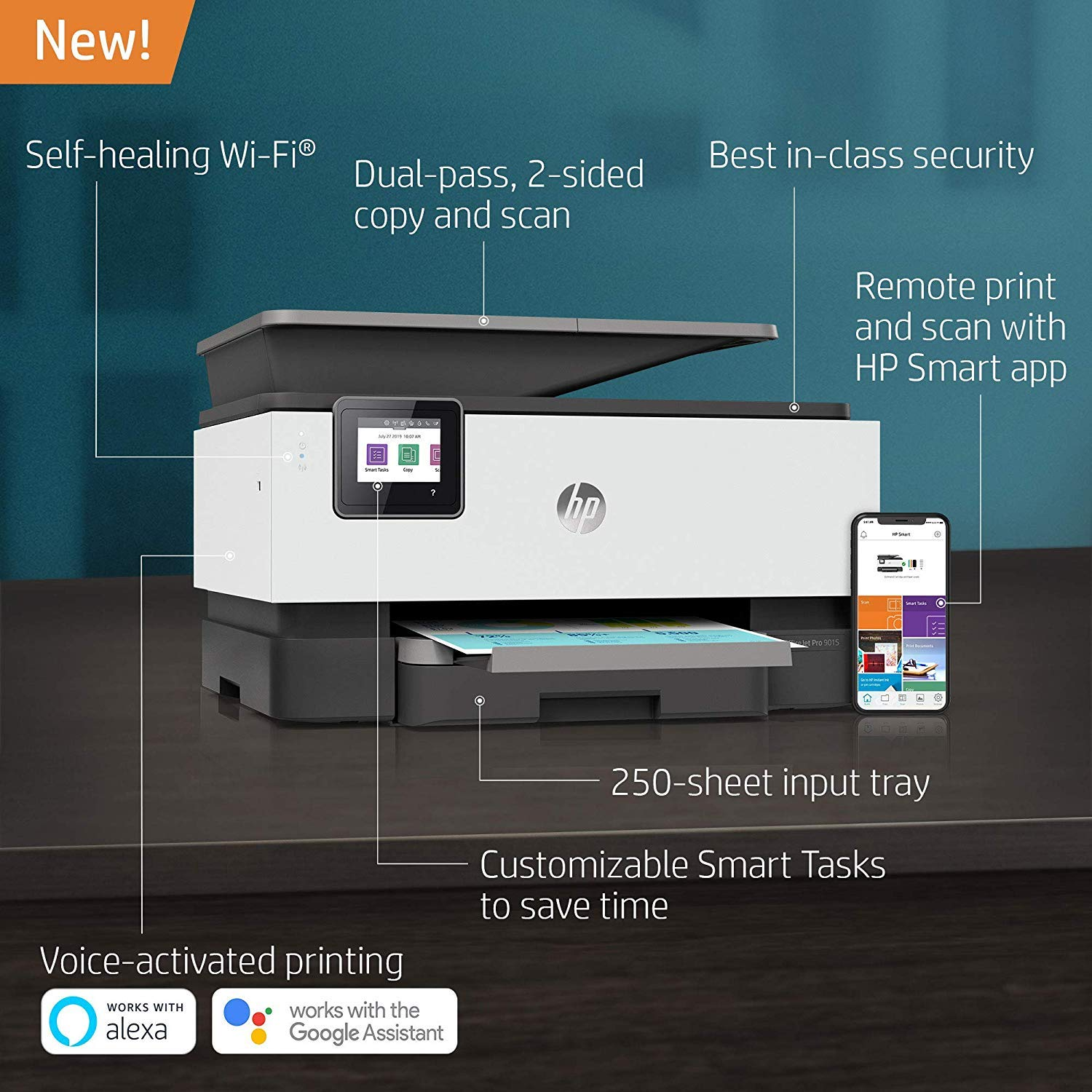 HP OfficeJet Pro 9015 All-in-One Wireless Printer, with Smart Tasks for Smart Office Productivity & Never Run Out of Ink with HP Instant Ink (1KR42A) by HP (Image #3)