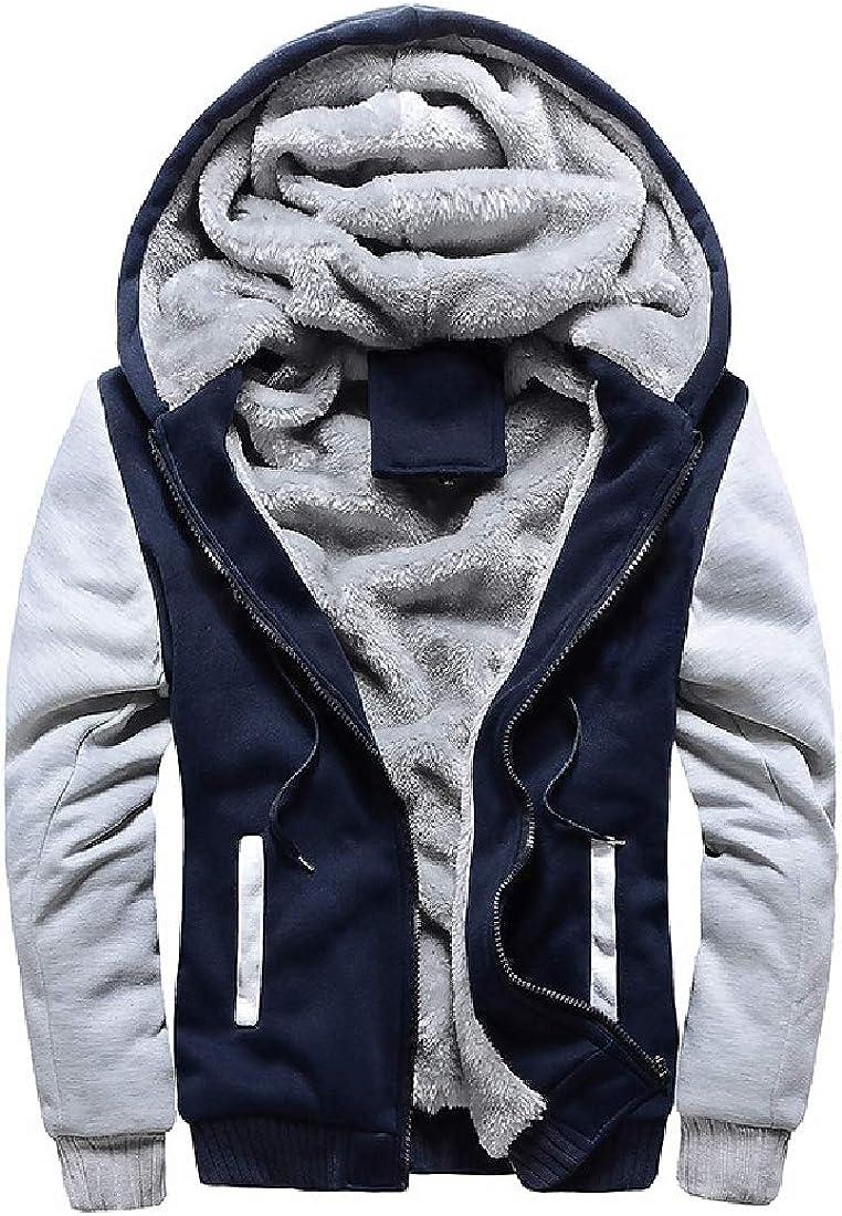 SHOWNO Men Hooded Fleece Lined Warm Zipper Outdoor Pockets Sweatshirt Jacket