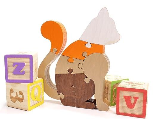 Cat Puzzle & Decor in Brown and Orange