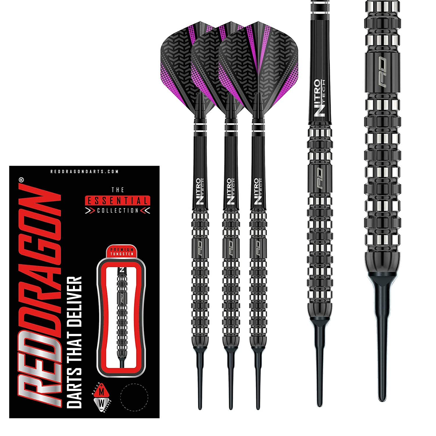 Red dragon Rogue 18g o 20g Softip Tungsten Darts con Voli e Albero
