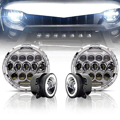 "TURBO SII Chrome 7""Inch LED Headlights Projection For Jeep Wrangler Unlimited JK JKU TJ LJ Rubicon Sahara 1997-2020 + 4"" Fog Lights Driving Lamp Front Bumper Lights,1 Year Warranty: Automotive"