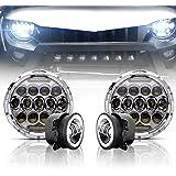 "TURBO SII Chrome 7""Inch LED Headlights Projection For Jeep Wrangler Unlimited JK JKU TJ LJ Rubicon Sahara 1997-2017 + 4"" Fog Lights Driving Lamp Front Bumper Lights,1 Year Warranty"