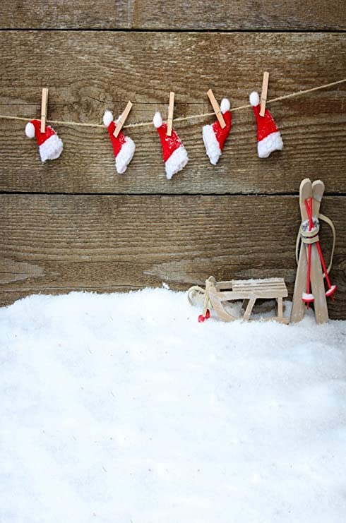Christmas Graffiti Background.Leyiyi 6x9ft Photography Background Merry Christmas Snow Grunge Graffiti Wood Board Happy New Year Backdrop Frost Snowing Rope Banner Christmas Hats