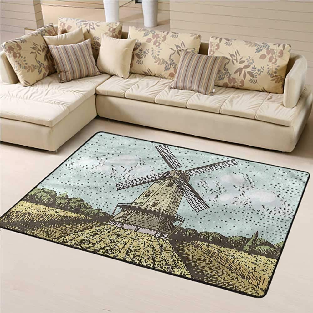 Printed Rug Dutch for Kids Yoga Living Room Home Decor Rugs Windmill and Farmland 6' x 9' Rectangle