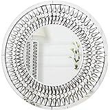 RICHTOP Specchio da Parete Rotondo Grande Design Elegante Moderno con Gioielli a Goccia Scintillante Specchio da Parete in Cristallo per Soggiorno (70x70)