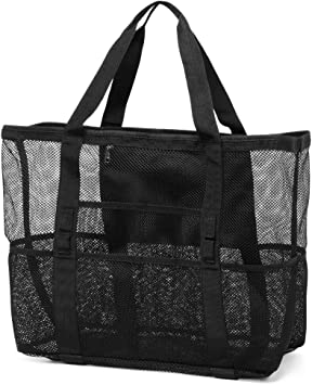 Veckle Oversized Beach Tote 8 Pockets Large Beach Toy Bag For Towels Toys Family Picnic Mesh Beach Bag White Beach Toys