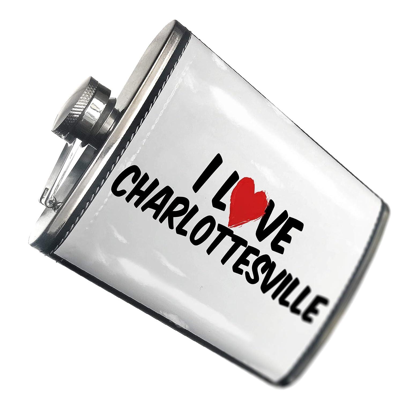 8オンスフラスコステッチI Love CHARLOTTESVILLEステンレススチール – Neonblond   B00QQVFVC4