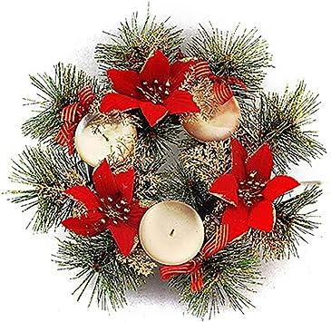 COOFIT Candelabro de Navidad Corona de Flores Artificiales Soporte ...