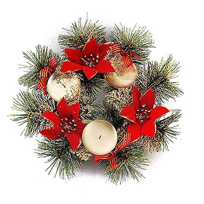 Bageek Candelabro de Navidad Corona de Flores Artificiales Soporte ...