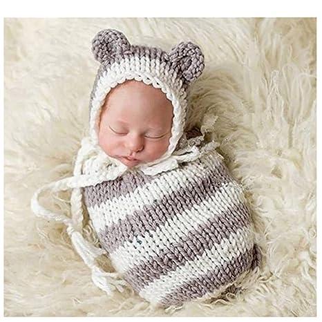 Bebé recién nacido fotografía apoyos niño Niña Gorro de Crochet para adulto saco de dormir