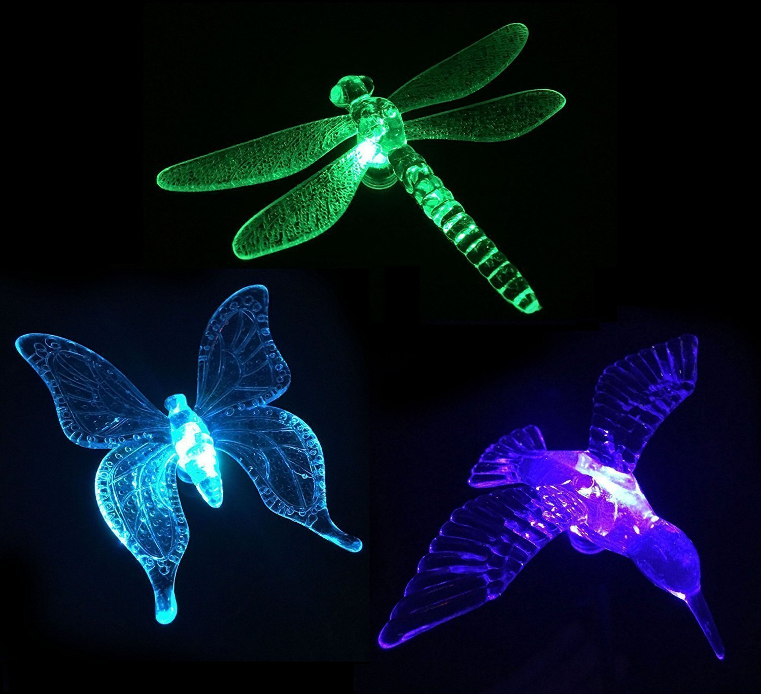 Fashionlite Solar Powered Outdoor Hummingbird, Butterfly & Dragonfly Solar Garden Stake Light, Chameleon Multi-color Changing LED Light,3 pack by Fashionlite