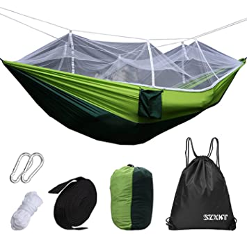 szxkt mosquito   outdoor hammock travel bed lightweight parachute fabric double hammock   portable hammock for amazon     szxkt mosquito   outdoor hammock travel bed      rh   amazon