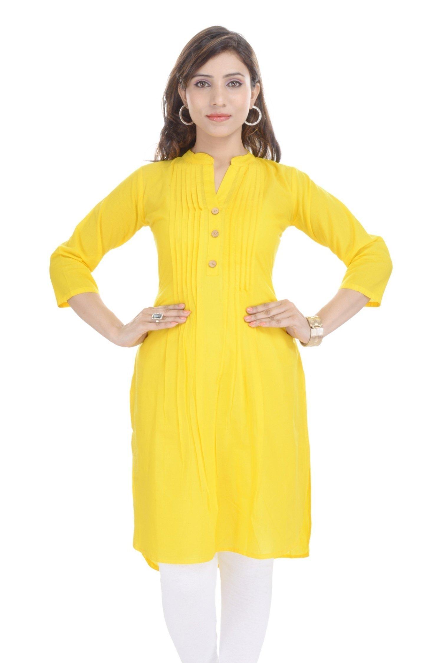 Chichi Indian Women Kurta Kurti 3/4 Sleeve XX-Large Size Plain Straight Yellow Top