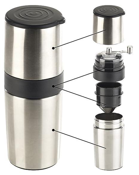 Rosenstein & Söhne Reisekaffeemaschine: 3in1-Edelstahl-Kaffeebereiter mit Kaffeemühle und Dauerfilter, 450 ml (Kfz Kaffeemasc