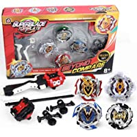 infinitoo Battling Top Bey Burst, Set of 4 Fighter Gyroscope 4D Fusion Model, with Launcher Speed Stater Grip Stater…