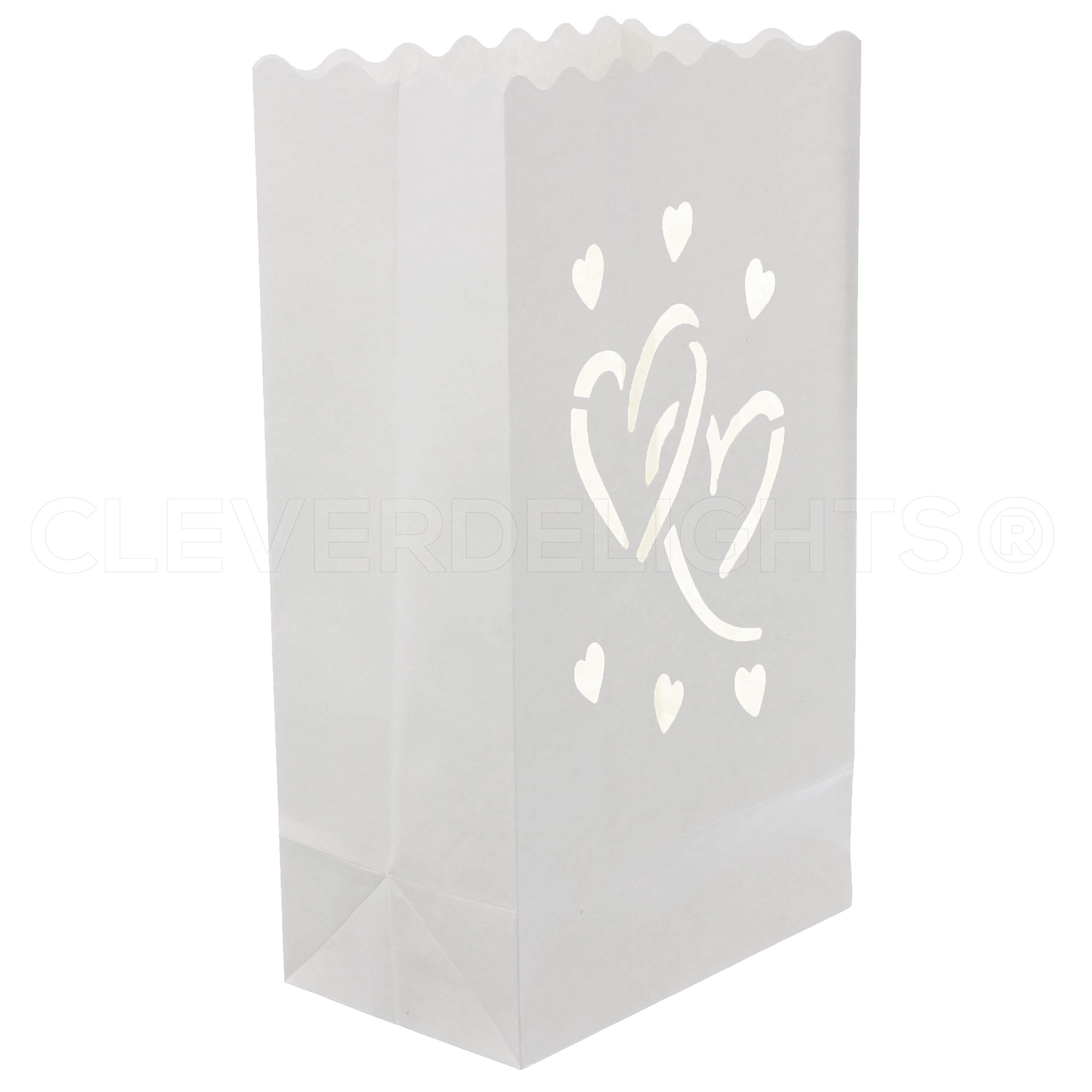CleverDelights White Luminary Bags - 20 Count - Interlocking Hearts Design - Wedding, Reception, Party and Event Decor - Flame Resistant Paper - Luminaria by CleverDelights