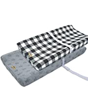 Ultra Soft and Contoured Plush Changing Pad Cover for Baby 2-Pack by BlueSnail (grey plaid+star jacquard)