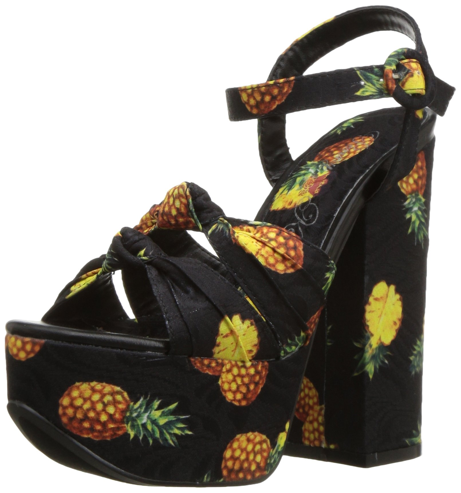 Penny Loves Kenny Women's Scat Platform, Black Pineapple Fabric, 9 Wide US